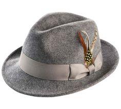 503eeb39806e1 Men s Snap Brim Crushable Fedora Felt Hat H-10. montique h10 grey