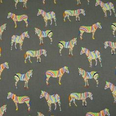 Zebras On Grey Cotton Fabric