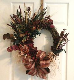 Fall Hydrangea Wreath, Autumn Eucalyptus Wreath, Grapevine Wreath, Dry And Silk Floral Rustic Wreath, Kitchen, Mantel, Dining Room Wreath by GiftsByWhatABeautifu on Etsy