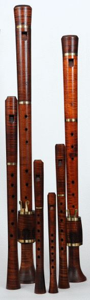 Renaissance Consort Recorders, made of Flame Maple by J. Hermans