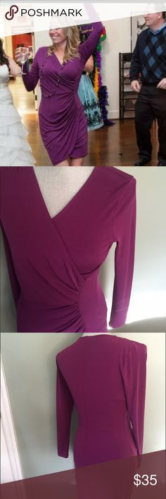 Sexy J Lopez Dress Amazingly comfortable light weight purple J Lo dress. Worn twice. In perfect condition covers tummy area perfectly Jennifer Lopez Dresses Midi