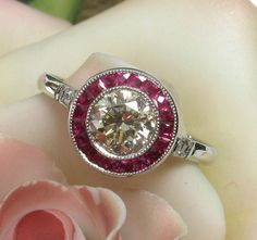 Spectacular Art Deco Platinum 1.20ct Ruby Yellow Diamond Engagement Ring