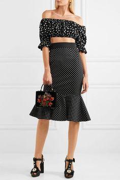Dolce & Gabbana - Off-the-shoulder Cropped Polka-dot Cotton Top - Black - IT38