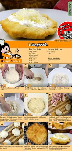 Langosch recipe with video - Hungarian recipes / simple Langosch Rezept mit Video – ungarische Rezepte/ einfache Gerichte Langosch is a Hungarian specialty. You can easily find the Langosch recipe video using the QR code :] - Bread Recipes, Cooking Recipes, Pizza Recipes, Cooking Tips, Plat Simple, Hungarian Recipes, Hungarian Cuisine, Hungarian Food, Croatian Recipes