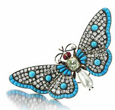 An Antique Multi-gem and Diamond Butterfly Brooch, 19th Century. Via FD Gallery, www.fd-inspired.com