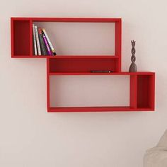 Free delivery over to most of the UK ✓ Great Selection ✓ Excellent customer service ✓ Find everything for a beautiful home Unique Wall Shelves, Corner Wall Shelves, Wall Shelf Decor, Cube Shelves, Floating Wall Shelves, Display Shelves, Empty Wall Spaces, Red Walls, Open Shelving