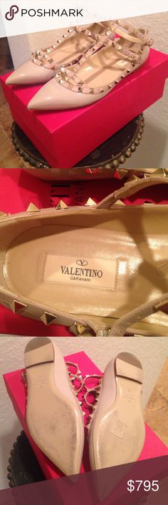 Valentino Rockstuds Nude Flats Size 38 These were only worn for a few hours. Excellent condition. Just some light wear on soles. Comes with box, dust-bag, papers and extra stud. I will ship within one day of purchase.  Valentino Shoes Flats & Loafers