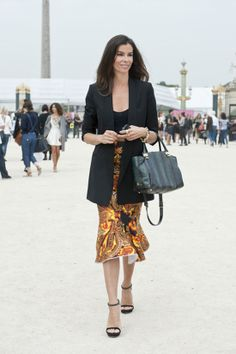 Très Chic! The Best Street Snaps at Paris Fashion Week: A printed and fluted skirt polished off with a sleek blazer.