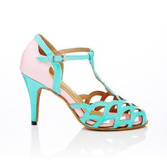 Pastel Pink and turquoise Latin, bridal, social Dance Shoes by vivazdance on Etsy