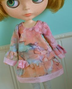 Bohemian Blythe Dress  Pink Watercolor by LaPetitePamplemousse, $13.00