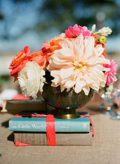 centerpiece with books.