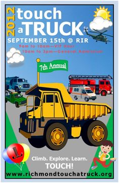 Don't miss out on #JLRichmond's Touch a Truck event on September 15th at Richmond International Raceway with VIP access from 9am-10am and open to all from 10am-3pm.  VIP and Family Four Pack tickets are only available in advance online at www.richmondtouchatruck.org.  Tixs also available at the gate for 5 bucks per person.  Don't miss out on all the fun -- fire trucks, bulldozers, dump trucks, ambulances, cement mixers, and helicpoters!  Food, music, crafts and games to top it all off!