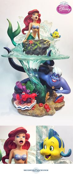 Do you love Disney's The Little Mermaid? Become a part of her world with this magical collectible sculpture that stands over a foot tall. Ariel perches on a rock above crashing waves, while Ursula makes her fiendish plots below the surface. Even Flounder and Sebastian are there to capture all the enchantment of this classic Disney film.