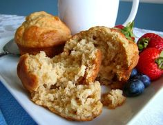 Peanut Butter Banana Muffins - just add cup sugar, double the salt, and chocolate chips and they are the best . Zucchini Muffins, Muffins Blueberry, Almond Muffins, Peanut Butter Muffins, Peanut Butter Banana, Muffin Recipes, Baking Recipes, Dessert Recipes, Sweet Desserts