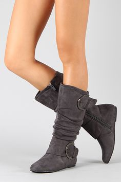 flat round toe high leg boot with buckles - also comes in black.