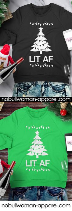 Bring some laughs to your #christmas party with this LIT AF #xmas sweater! Get yours now at https://nobullwoman-apparel.com/collections/holiday/products/lit-af-christmas-sweatshirt-crew-neck-pick-color