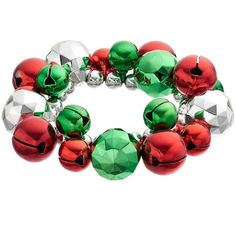 Jingle Bell Cluster Stretch Bracelet, Adult Unisex, Red/Green ($7) ❤ liked on Polyvore featuring jewelry, bracelets, green, cocktail jewelry, beading jewelry, special occasion jewelry, holiday jewelry and stretch jewelry