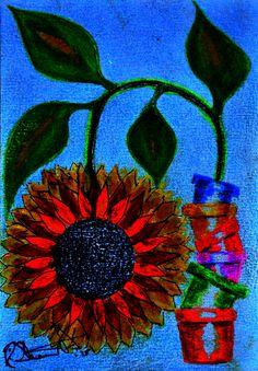 My Art. Sunflower Nights.Watercolour Pencil