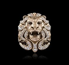14K Gold with diamonds Royal Blood Lion Ring - NightRider Jewelry