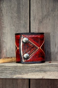 Leather Cuff Bracelet  The Red Baron by LifelessLeatherCo on Etsy, $125.00
