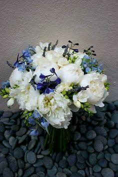 Hand Tied Wedding Bouquet Comprised Of: White Peonies, White Freesia, Fresh Lavender, Blue Delphinium, Purple Delphinium ^^^^