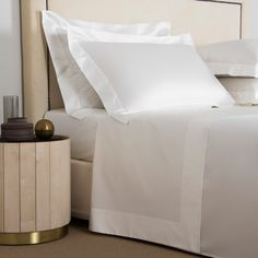 Shop an exquisite selection of luxury sheet sets from Frette, the leading provider of the finest linens to homes and hotels around the world. Luxury Sheets, Luxury Bedding, Linen Bedding, Bedding Sets, Bed Linens, Duvet, Simple Borders, White Bench, Linen Shop