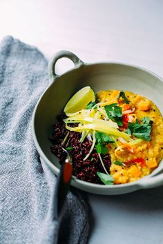 Ginger sweet potato dal is an easy, high protein, and quick weeknight meal that happens to be vegan and gluten-free.
