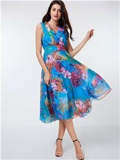 Vestido de Tallas Grandes Floral Estampado sin Mangas con Cuello V