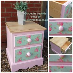 painted and decoupaged pine bedside chest
