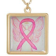 Pink awareness ribbon guardian angel jewelry necklace pendant
