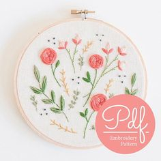 Beautiful Floral Burst hand embroidery pattern - instant download DIY hoop art pattern #hoopart #embroidery #ad
