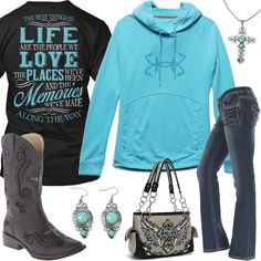 Best Things In Life Under Armour Fish Hook Hoodie Outfit - Real Country Ladies