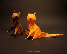 """Adriana on Instagram: """"Miau! Making origami cats has been my nemesis for years, but I think these guys looks rather good! #origami #origamis #origamist…"""" Origami Cat, Origami Animals, Guys, Instagram, Sons, Boys"""