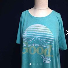 NWT life is good  take a hike tee shirt Fun loving NWT life is good brand . Written life is good take a hike.  Reg: $32.00   27 inch long, 23 inch arm pit to arm pit (non stretched)  Tags: gym, tee-shirt, relax , camping, outdoors, nature, fun , comfy, Life is Good Tops Tees - Short Sleeve