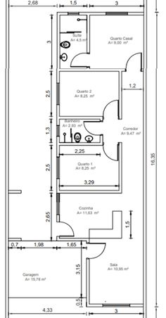 Planta de casa térrea com 3 quartos, planta baixa de casa pequena com 3 quartos 2 banheiro e garagem. Little House Plans, My House Plans, Bedroom House Plans, House Floor Plans, House Layout Plans, House Layouts, Home Building Design, Home Design Plans, Tropical House Design