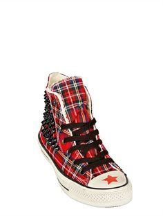 CONVERSE - TARTAN & SHEARLING HIGH TOP SNEAKERS - LUISAVIAROMA - LUXURY SHOPPING WORLDWIDE SHIPPING - FLORENCE