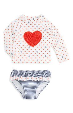 Little Me 'Heart' Two-Piece Rashguard Swimsuit (Baby Girls) available at #Nordstrom