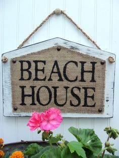 BEACH HOUSE Cottage style shabby BURLAP by SophiasSignBoutique, $34.00