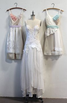 repurposed vintage lace wedding gown and bridesmaids dresses from recycled materials