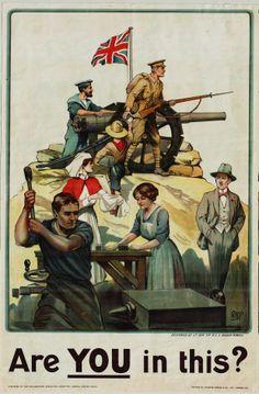 """- Collection Archives de Seine-Maritime - """"Are you in this ?"""". Publication du Parliamentary recruiting committee à Londres ; Johnson, Riddle & Co, imprimeurs à Leicester-Londres ; R.B.P., dessinateur, 169 Fi guerre 14-18 108."""