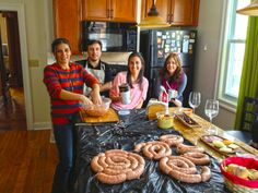 "Making ""chorizos argentinos"" with friends."