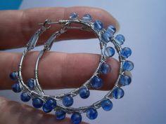 Creolen mit Achat,Ohrringe,blau von kunstpause auf DaWanda.com