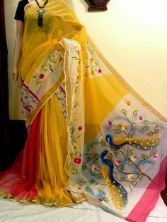 Aesthetic Kerala Kasavu Pure Cotton Hand Painted Saree
