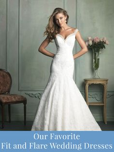 Fit and flare wedding dresses we love.