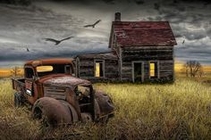 Landscape Photograph - ArtPrize entry The Death of the Small Farm Panel 2 of the triptch by Randall Nyhof Abandoned Farm Houses, Abandoned Buildings, Abandoned Houses, Abandoned Places, Old Pickup Trucks, Farm Trucks, Antique Trucks, Vintage Trucks, Barn Pictures