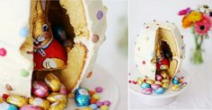pinata cake with easter bunny inside