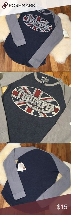 Lucky Brand Triumph Long Sleeve Thermal This vintage tee is for motorcycle enthusiasts! Soft, cozy, and perfect paired with some worn jeans! Lucky Brand Tops Tees - Long Sleeve