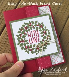 Easy Fold Back Front Card Stampin Up Christmas Cards Stampin Up Wondrous Wreath & Tin of Tags stamps Holiday Wreath