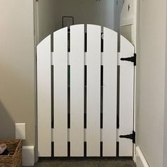 Rustic Barn Door Style Baby/ Pet gate w/special Fairy Door or Cat Door Picket Fence Gate, Fence Doors, Fence Gates, Fence Art, Tall Dog Gates, Diy Dog Gate, Cat Gate, Style Baby, Gate Decoration
