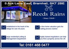 Reeds Rains Estate Agents in Bramhall. Established in the heart of the village for 40|+ years. Large residential management & letting dept. Tel 0161 468 0477